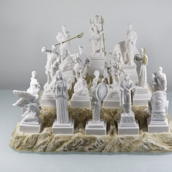 Set All The 12 Olympian Gods of Mount Olympus Alabaster Greek Statues 6.69""