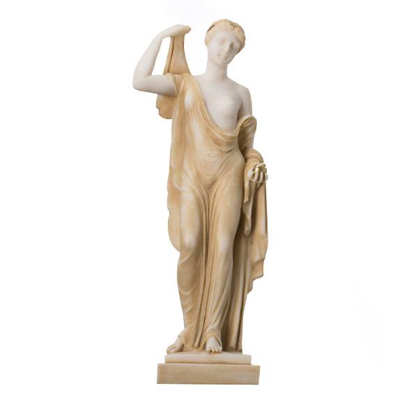 Eris Statue Gold Tone Holding Golden Apple of Discord Greek goddess of strife