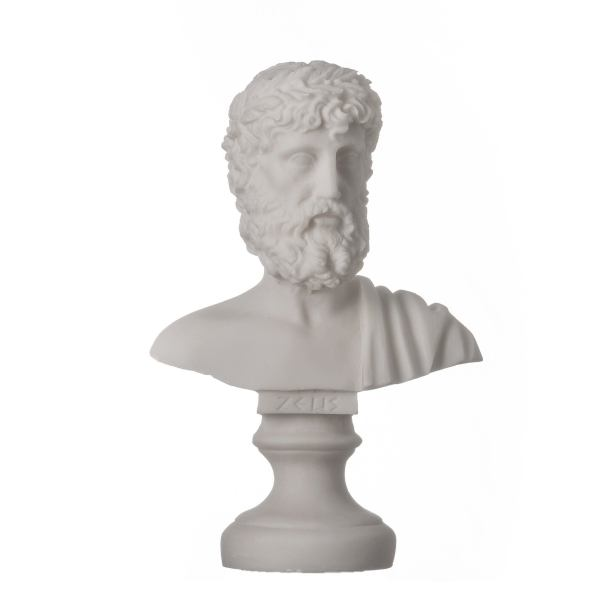 ZEUS Greek God of the Sky Greek Roman Bust Head Alabaster Statue Sculpture 6.3″