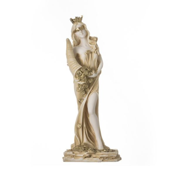 Goddess Of Wealth Tyche Lady Luck Fortuna Statue Alabaster Sculpture Golden 8.6″