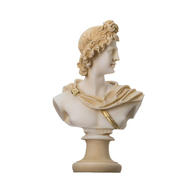 Apollo God Of Music Poetry Art Gold Tone Alabaster Bust Statue Sculpture 5.9″