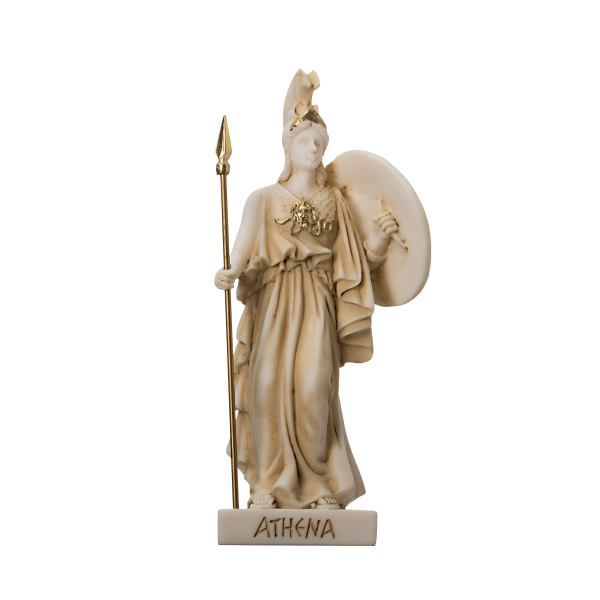 Goddess Athena with Medousa Shield  alabaster gold tone 6.1""
