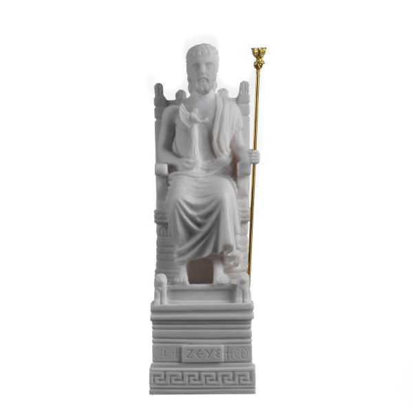 Zeus On Throne Jupiter God Greek Roman  Alabaster Statue  8.6″ 21cm