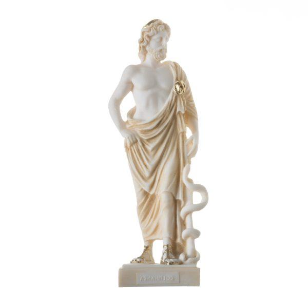Asclepius Greek God of Medicine Alabaster H/m Gold Tone Museum Copy Statue  9″