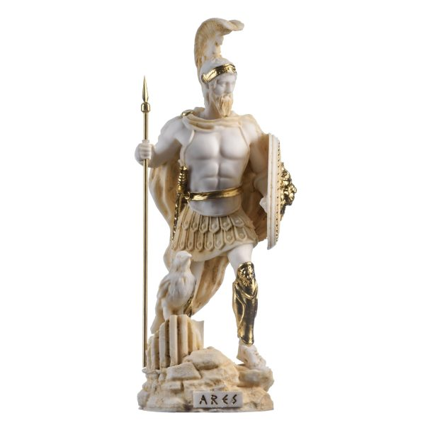 Ares Mars God of War Zeus Son Roman Statue Alabaster Gold Tone 9.84″