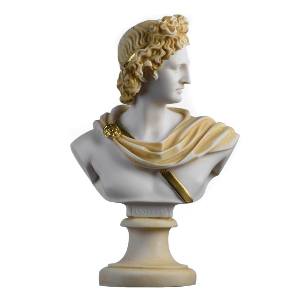 Apollo God Of Music Poetry Art Alabaster Stone Bust Gold Tone  Sculpture 8.66″