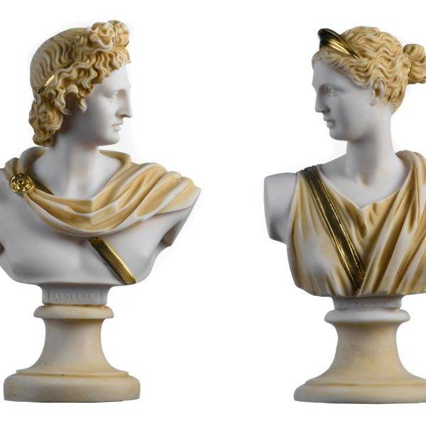 Set 2 Busts Artemis Diana and Apollo Greek Statues Figurine Gods Alabaster Gold