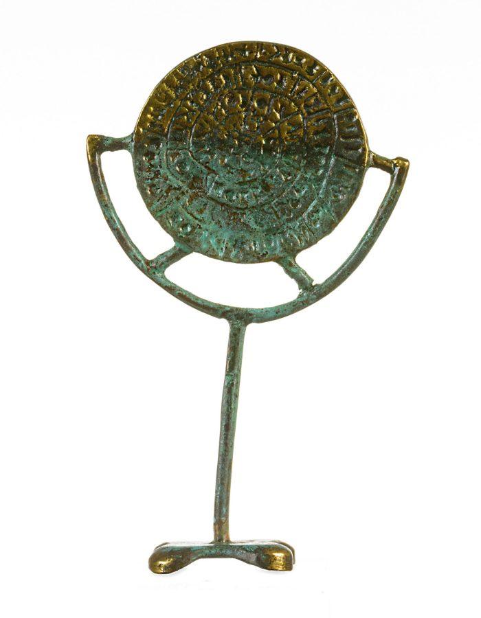 Minoan Phaistos Disc Fired Clay Crete Knossos Handmade 15x10cm Bronze