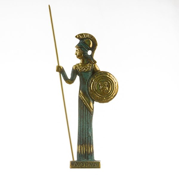 Athena w/Javelin Goddess of wisdom, handicraft, and war handmade solid bronze 7.6″