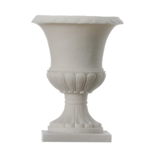 Candle Holder Handmade Alabaster Flower Pot Style White Wedding Ancient Greek 4.3″