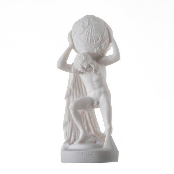 Atlas Carrying Celestial Spheres Titan Atlas Statue Alabaster Sculpture Ancient Greek Artifact 8.6″ 22cm