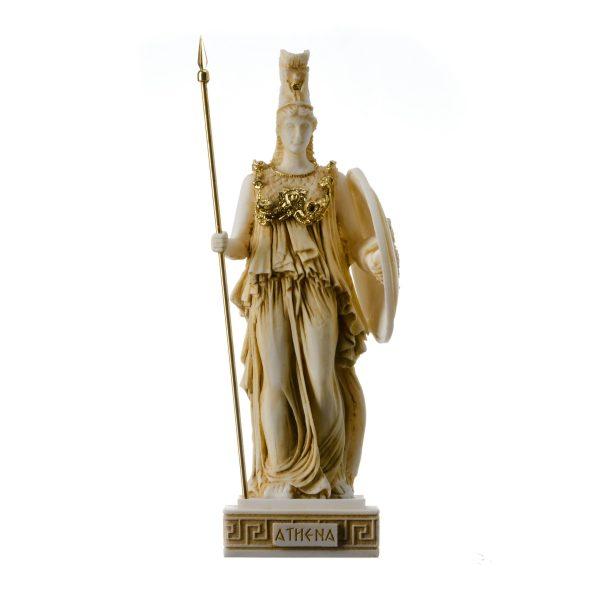 Athena Athene Goddess of wisdom, handicraft, and war Alabaster Statue Gold 10.2″