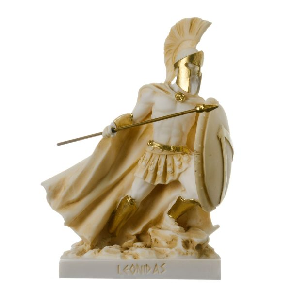 LEONIDAS Statue Greek Spartan King Sculpture Figure Alabaster Gold Colour 6.3″