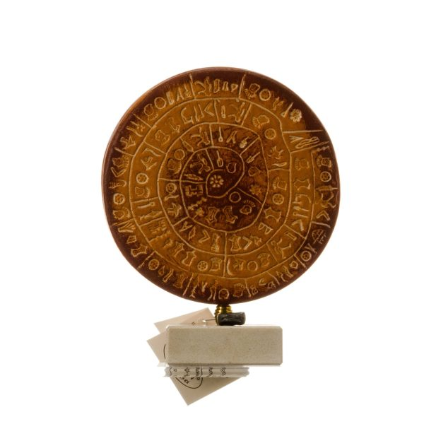 Minoan Phaistos Disc Fired Clay Ceramic Handmade Greek Art Museum Replica 5.9″ 15×11,5cm