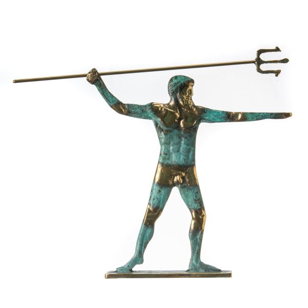 Poseidon Greek God of the Sea With Trident Statue Handmade solid bronze 7.4″