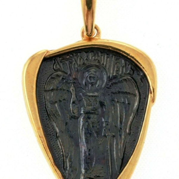Russian Orthodox Pendant Mother Of Jesus Christ Silver 925+999 Gold 1.25″