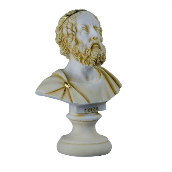 Homer Greek Bust Sculpture Classical Statue Antique Finish Face Gold 5.90 inch