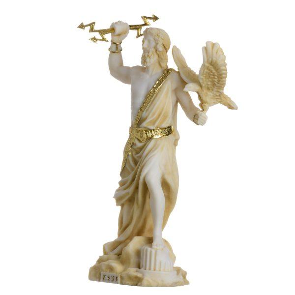 Zeus Greek God Jupiter Thunder Statue Figurine Gold Alabaster 7.08″