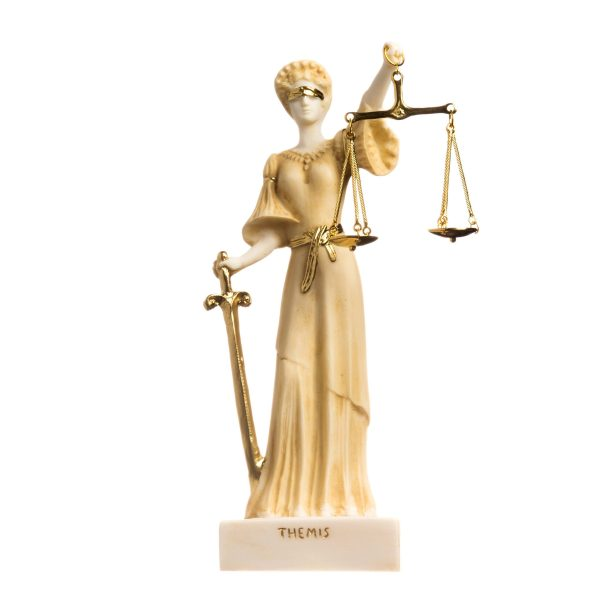 Greek Goddess Themis Statue Blind Lady Justice Handmade Lawyer Gift Gold Finish 9.8″ ( 25cm)