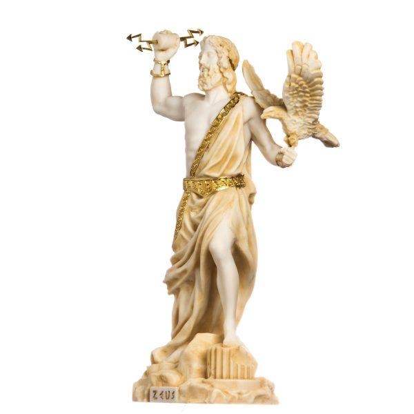 Zeus Greek God Jupiter Thunder Statue Figurine Gold Alabaster 13.4″