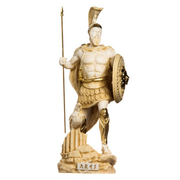 Ares Mars God of War Zeus Son Roman Statue Alabaster Gold Tone 14.56inch