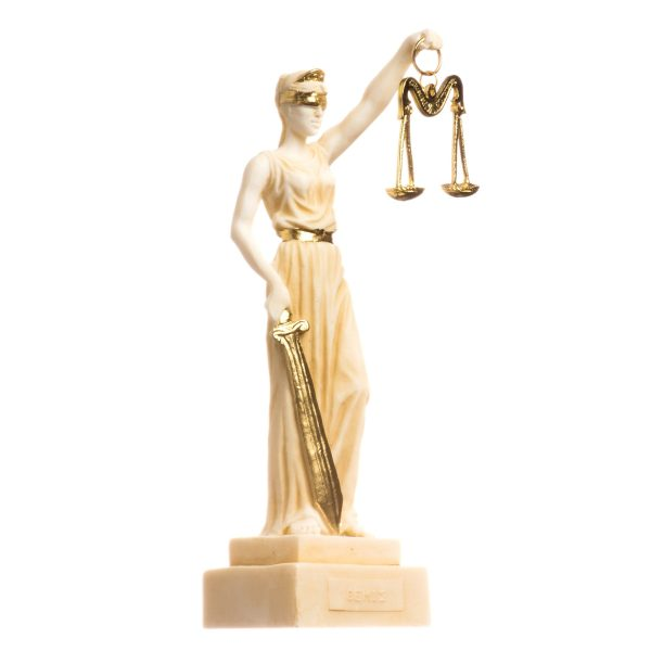 Greek Goddess Themis Statue Gold Tone Blind Lady Justice Sculpture Lawyer 7″