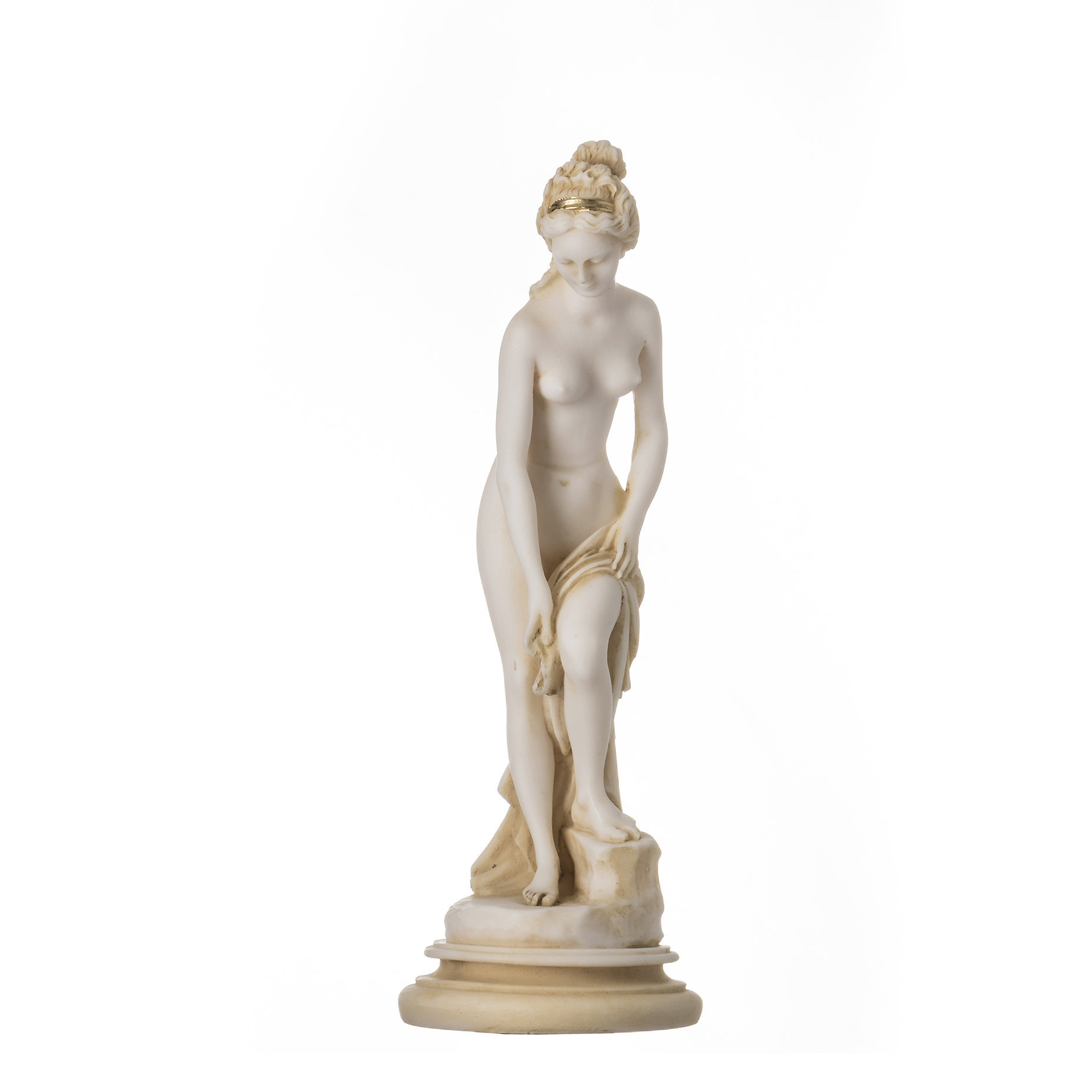 "Helen Of Troy Sparta Nude Naked Female Figure Alabaster Statue Sculpture 9""Gold"