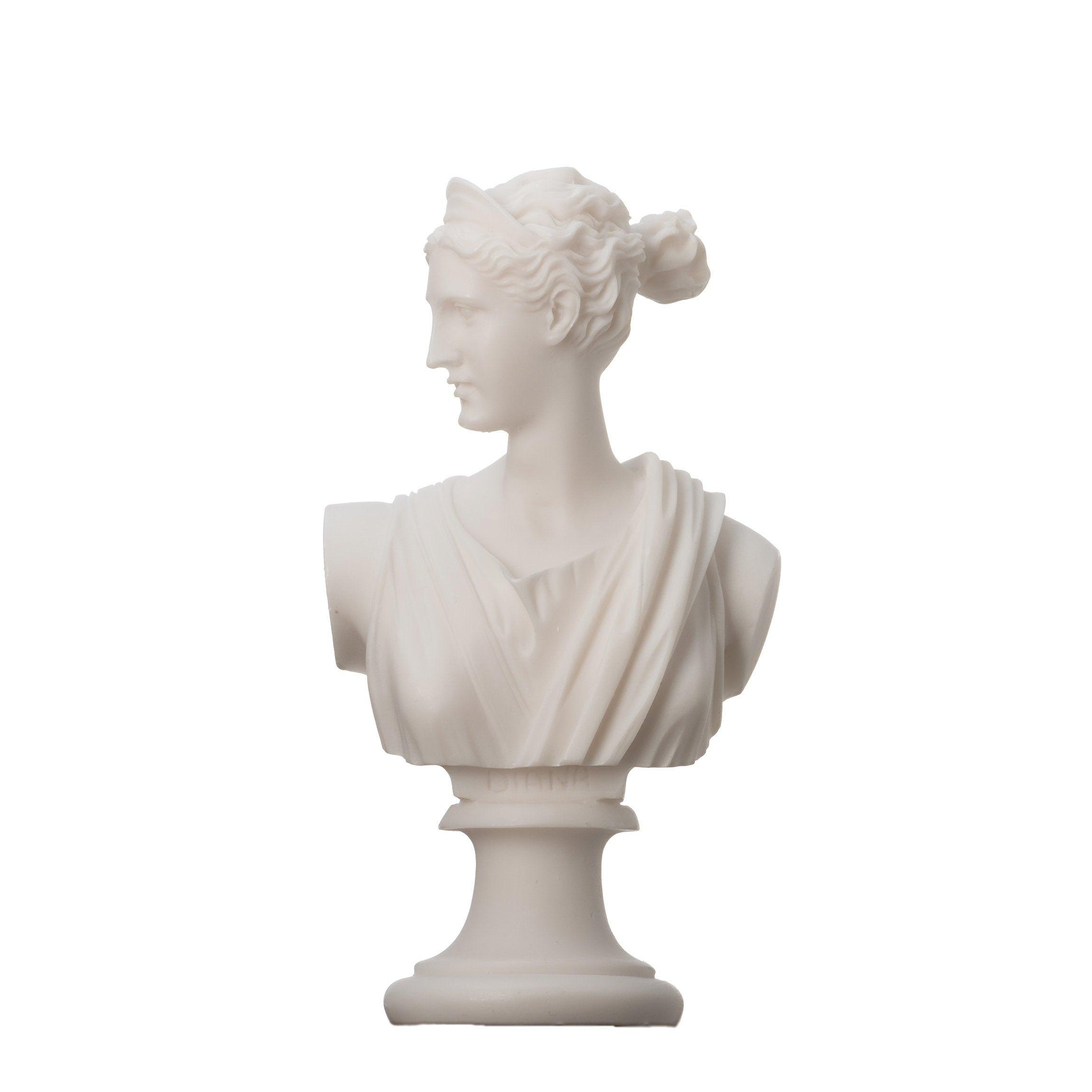"Artemis Diana Bust Greek Statue Nature Moon Goddess Alabaster 6.3"""