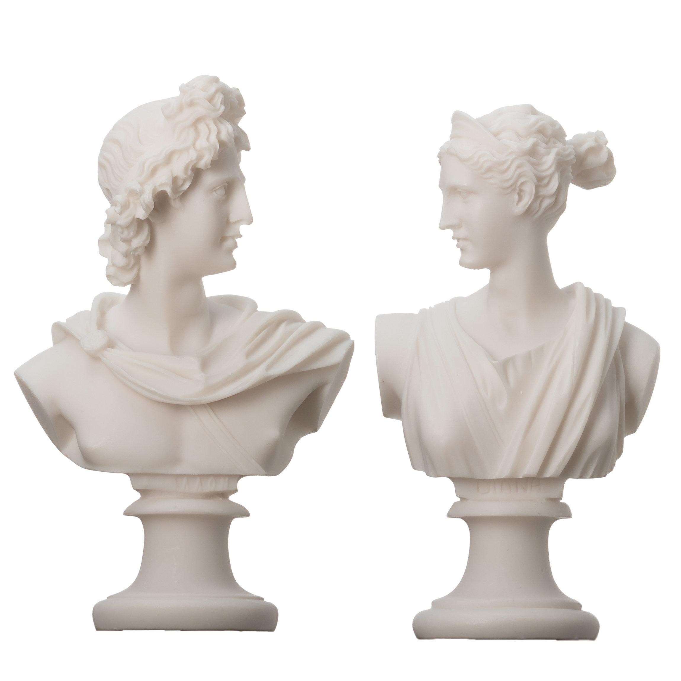 Artemis Diana  and Apollo Bust Greek Statues Figurine Gods Alabaster  5.9''