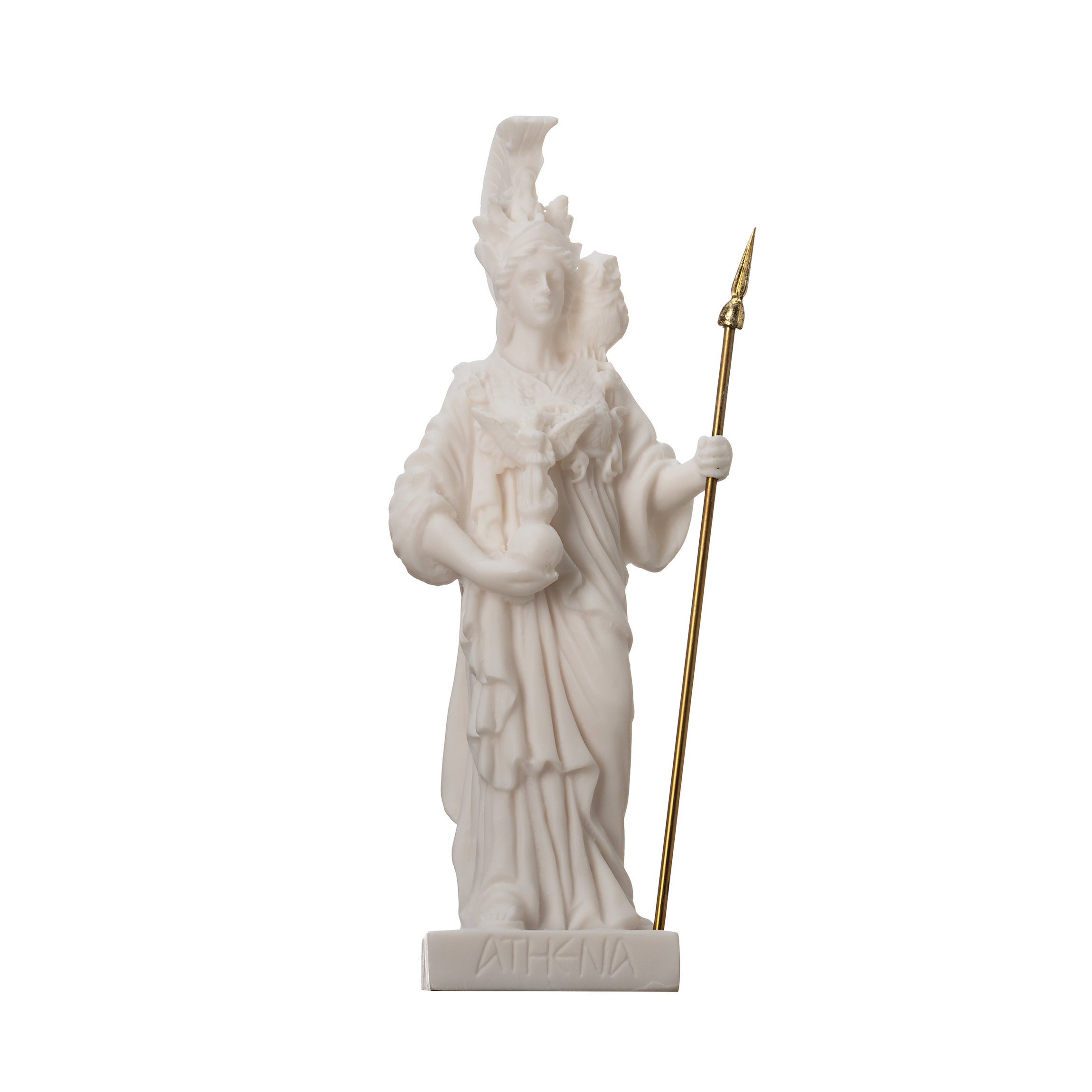 """Athena with Owl Goddess of wisdom and war Alabaster  Statue 6.29"""""""