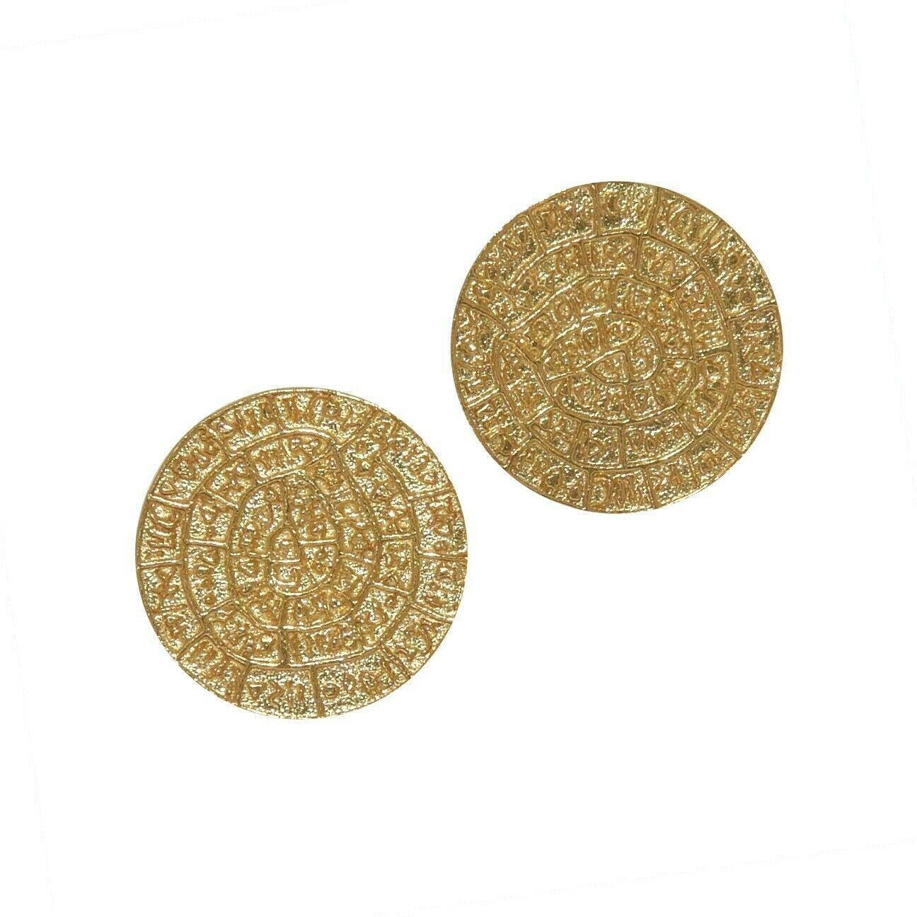 Phaistos Disc Knossos Earrings Silver Sterling 925 Gold Plated Greek Handmade L