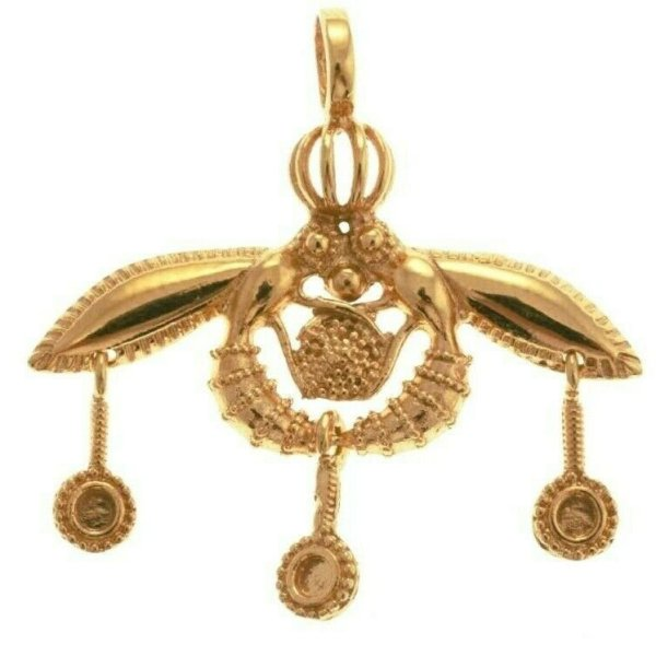 Malia Bees Minoan Cretan Pendant Silver Sterling 925 Double Gold Plated Handmade