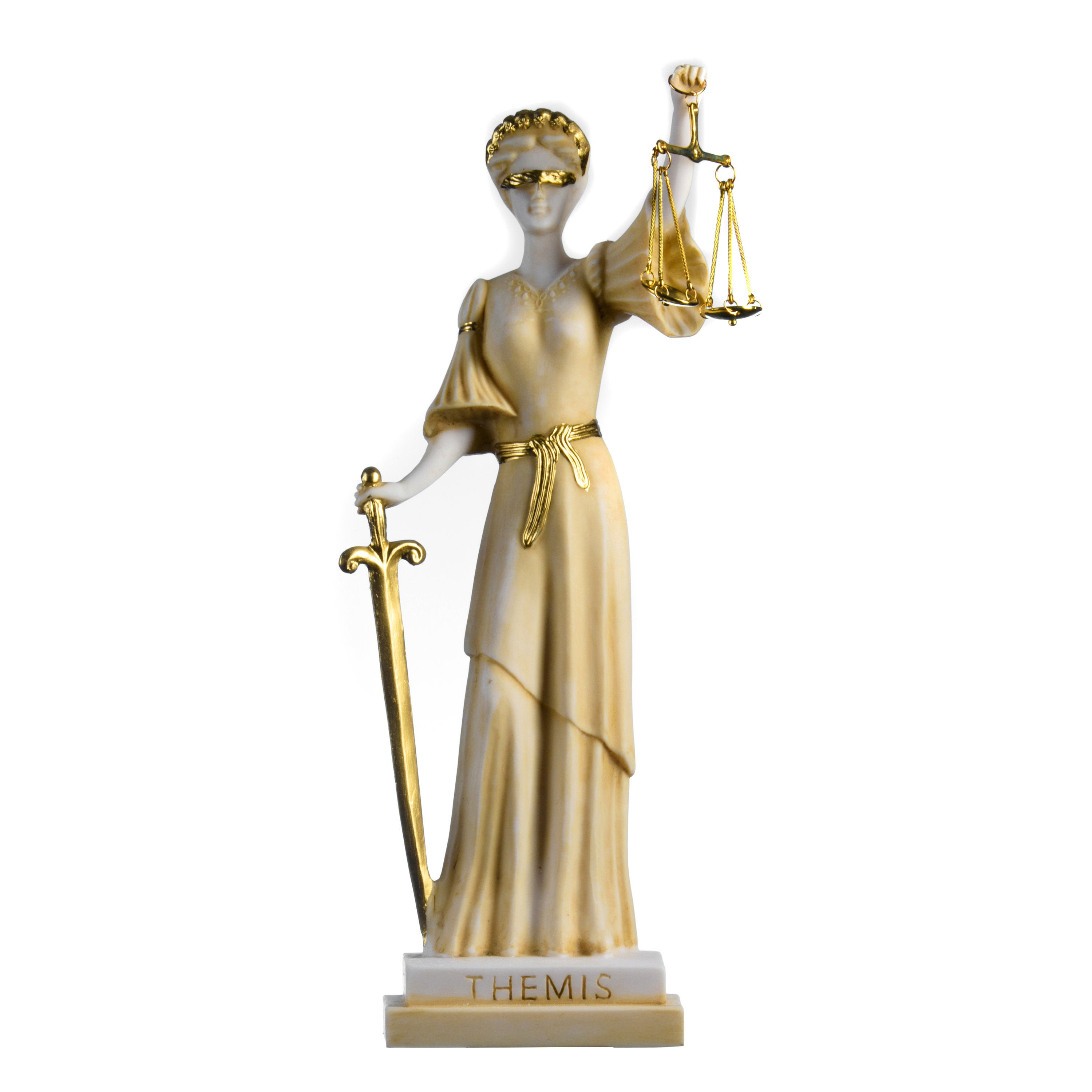 Greek Goddess Themis Statue Gold Colour Blind Lady Justice Sculpture Lawyer Gift 15.35''