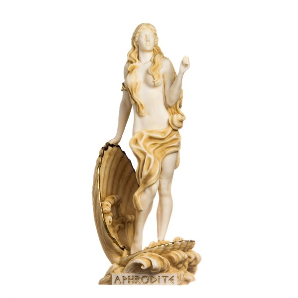 Rising Venus Aphrodite Zeus Daughter Greek Goddess Gold Tone Statue Sculpture 13.38″ 34cm