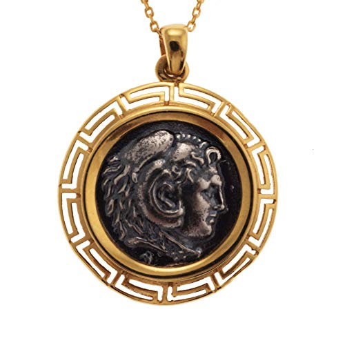 Alexander The Great Greek Big Coin Pendant 925 Sterling Silver Gold Plated