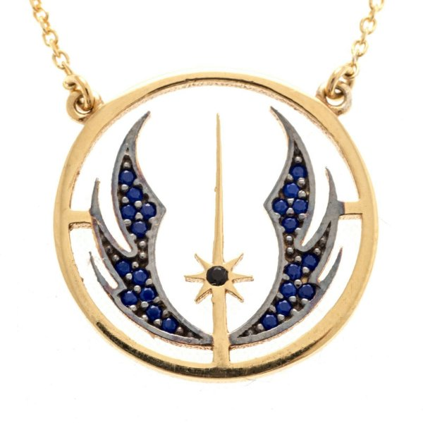 Star Wars Necklace Jedi Pendant Mens Jewellery Necklace Silver Sterling 925 Blue