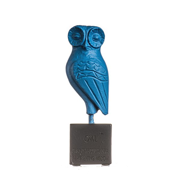 Premium Serie Owl Of Athena Wisdom Sculpture on  Base Blue Color Handmade Alabaster Figurine Greek Statue 5.3″ 13.5cm