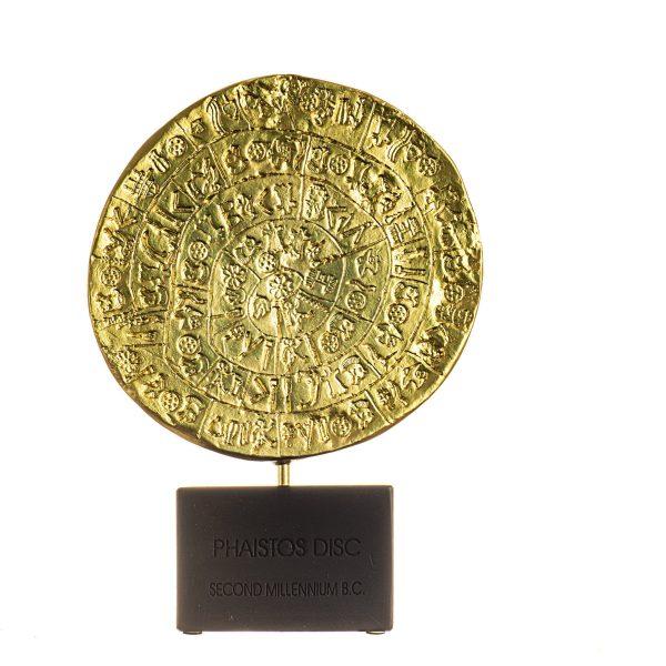 Premium Serie Minoan Phaistos Disc on Base Gold Color Crete Knossos Handmade  9.25″ 23.5cm