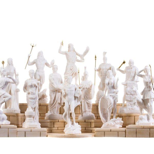 Set 12 Olympian Gods of Mount Olympus Pantheon Alabaster Includes Base 6.7″