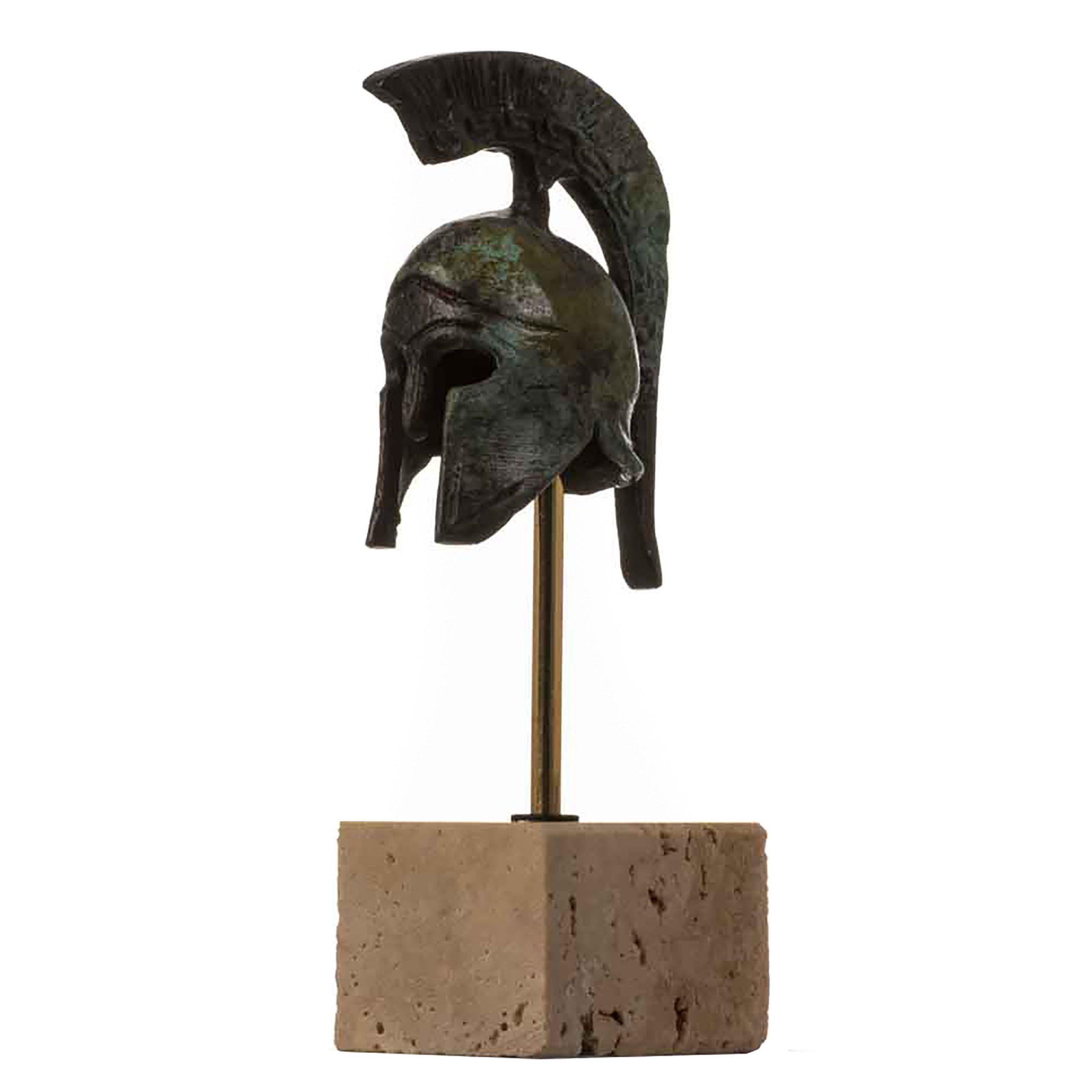 "Helmet Spartan Officer  Ancient Greek  Bronze Museum Replica Vintage with base 4.9"""