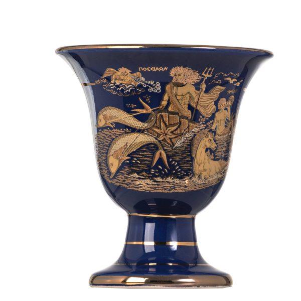 Pythagoras Cup of Justice Pythagorean Fair Mug Ancient Greek God Poseidon Representations Blue 24 Kt Gold Ceramic