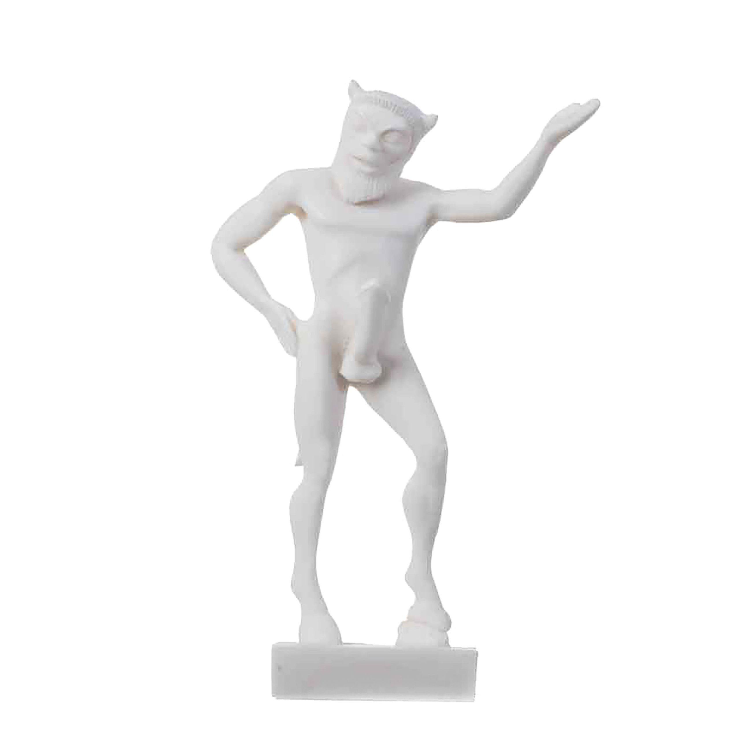 "Satyr Pan Panas Greek Roman Statue Handmade Alabaster Male Figure 5.5"" 14cm"