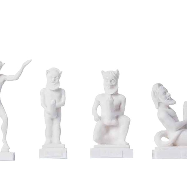 Set of 4 Satyr Greek Roman Mythology Penis Statue Handmade Alabaster Nude Male Figure