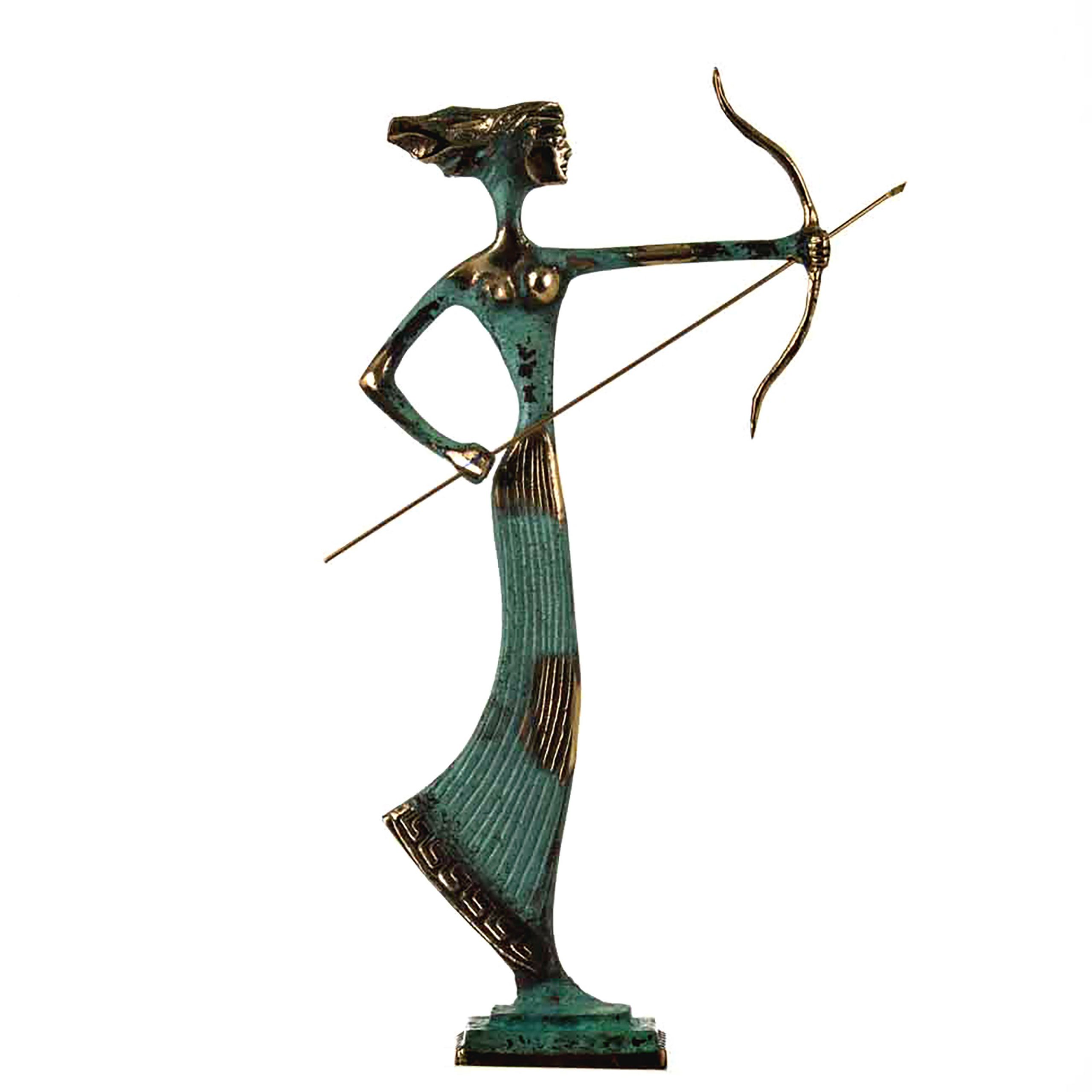 """Artemis Diana Greek Statue Nature Moon Goddess with Bow Solid Bronze 14.2"""""""