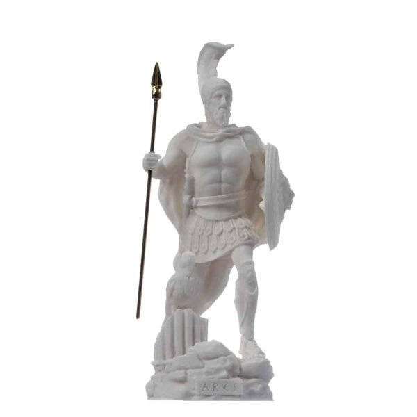 Ares Mars God of War Zeus Son Roman Statue Alabaster 6.3″