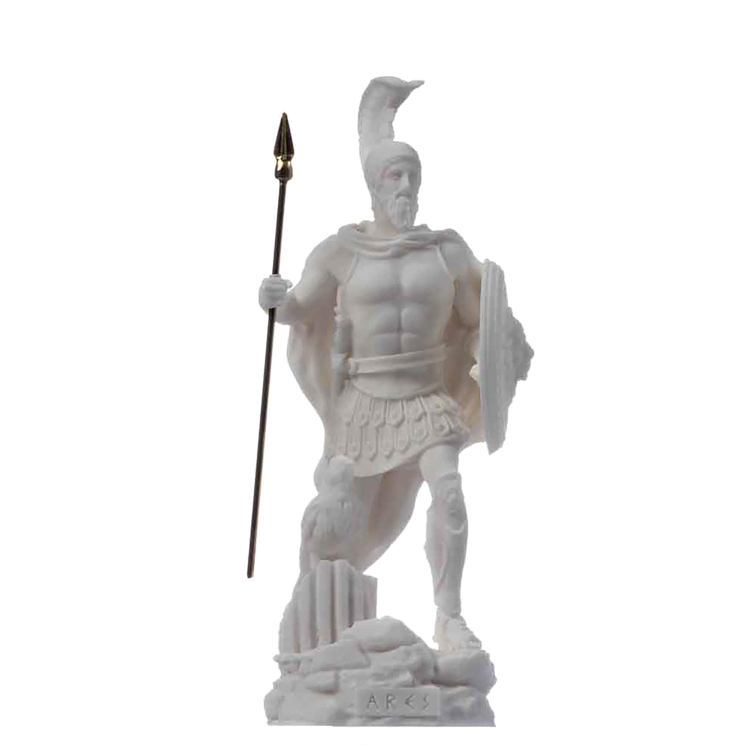 "Ares Mars God of War Zeus Son Roman Statue Alabaster 6.3"""