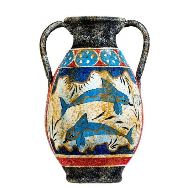 Ancient Greek Minoan Amphora Handmade Ceramic Pottery Vase With Fresco Dolphins Mural