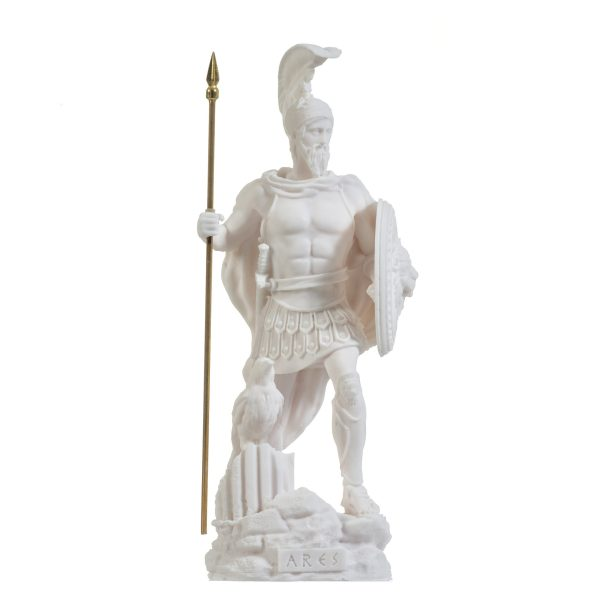 Ares Mars God of War Zeus Son Roman Statue Alabaster 9.84″