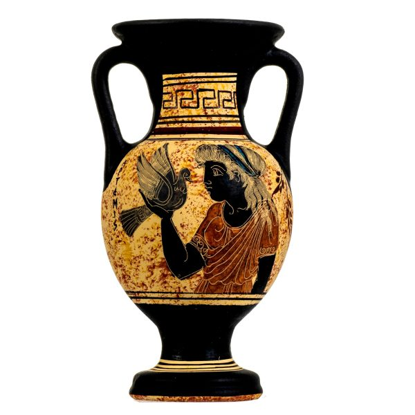 Ancient Greek Minoan Amphora Handmade Pottery Vase With Goddess Artemis Ceramic