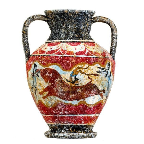 Ancient Greek Minoan Amphora Handmade Ceramic Pottery Vase With Fresco Bull-Leaping Mural S